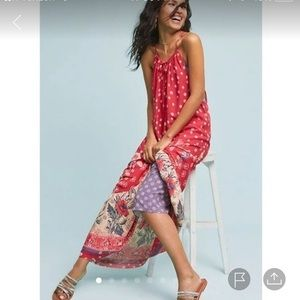Maeve Anthropologie red floral maxi dress